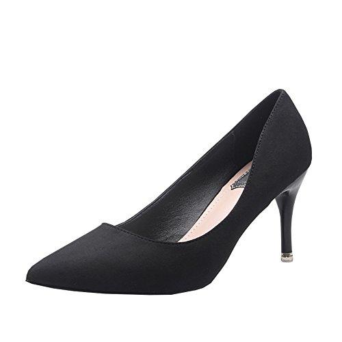 fereshte Women's Stylish Suede Pointed-Toe Slip-On Low-Top High Heel Stilettos Court Shoes Black
