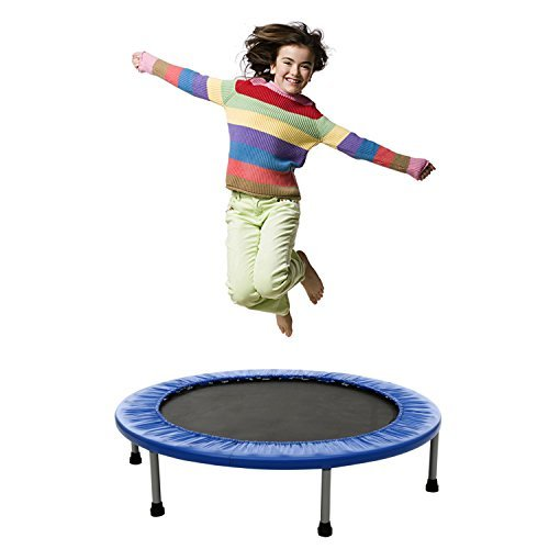 Tomasar Mini Trampoline Rebounder, Max Load 220lbs Rebounder Trampoline Exercise Trampoline with Padded Frame Cover Safe & Secure For Indoor/Garden/Workout Cardio (Blue, 38inch – foldable twice)