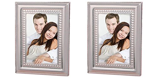 FashionCraft. Set of 2 Matte Silver Metal Place Card/Photo Frames Bundled by Maven Gifts ()