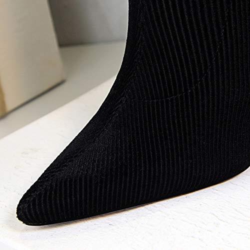 LBTSQ Fashion Damenschuhe Mode Präzise Kurze Stiefel Heel 10Cm Metall Metall Metall - High - Heel Cordhose Slim Spitze Sexy Nachtclub Stiefel 279314