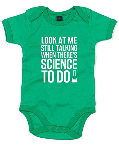 Science To Do, Printed Baby Grow - Kelly Green/White 6-12 Months (Body Portal P Gun)