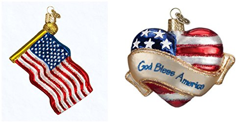 American Flag Christmas Ornament - Old World Christmas American Flag and God Bless American Heart Glass Blown Ornaments from, Patriotic gifts, USA souvenirs