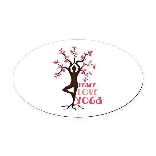 CafePress - Peace Love Yoga Oval Car