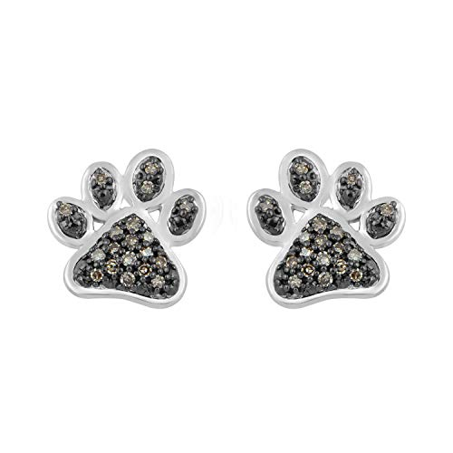 (Jewelili Sterling Silver 1/6cttw Champagne Diamond Paw Earrings)