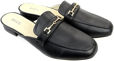 SVEC Unisex Mens Womens Slip On Mules Backless Loafers Casual Shoes Black Brown White