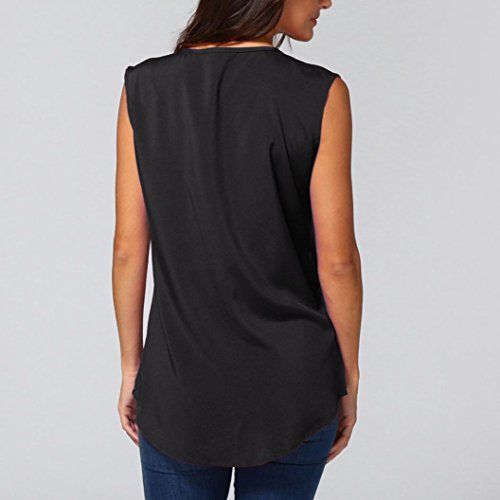 Top V Noir B Longues T Shirt Moonuy Haut Chic Tops Femme Col Long Chemisier Dcontracte Mousseline Manches Casual pour qTXO1
