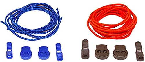 More of Me to Love Elastic No Tie Shoelaces (2-Pack) (47 with Locking System, Red & Blue) NJ 2pkLac120cm Red Blue w/LOCK