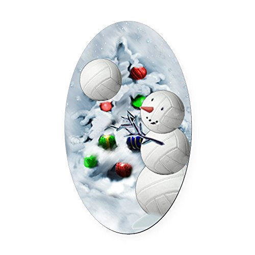 CafePress - Volleyball Snowman Xmas - Oval Car Magnet, Euro Oval Magnetic Bumper Sticker