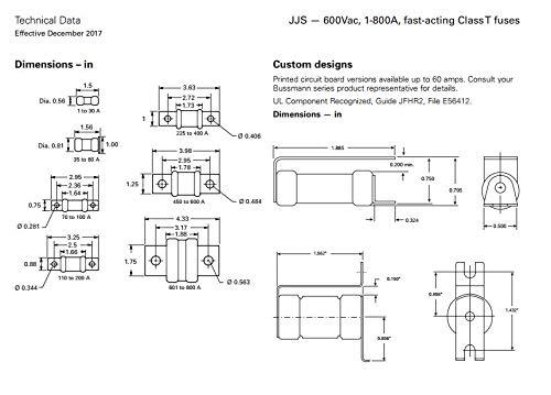 Bussman JJS-25 Fast-Acting Class T fuses 600Vac 25A
