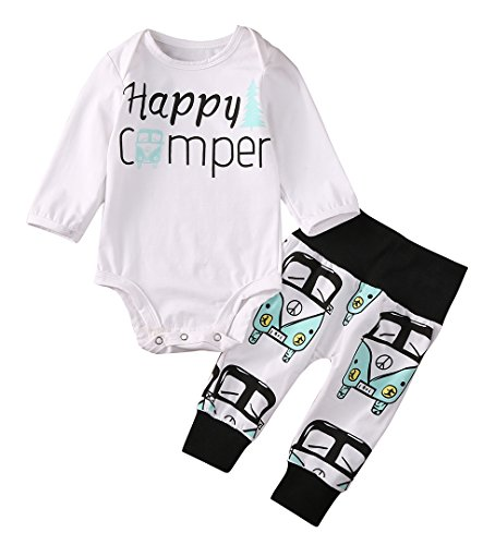 Newborn Kids Baby Boy Girl Infant Romper Jumpsuit Bodysuit Clothes Outfit Set (0-3 Months, White)