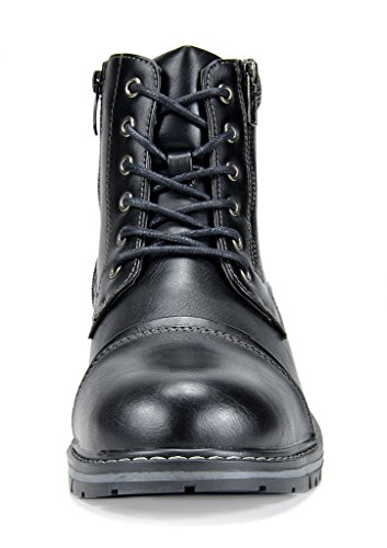 Bruno Marc Mens Apache Motocycle Combat Ankle Boots Black-3