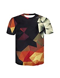 Naladoo Men 3D Print T-Shirt Short Sleeve Neck Cool Casual Digital Graphics Tee