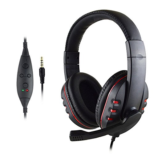 3.5mm Wired Gaming Headphone,Mosunx Electronic USB Headset Stereo Noise Reduction Isolation Earphones with Micphone for PS3 PS4 Smartphones (Black)