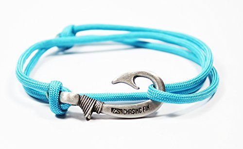 Pendant Hook (Chasing Fin Adjustable Bracelet 550 Military Paracord with Fish Hook Pendant, Turquoise)