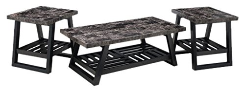 Simmons Upholstery 7018-43 Occasional Table, Pack of 3, Onyx Marble/Ebony