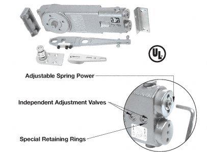 CRL 105 Degree No Hold Open Adjustable Spring Power Overhead Concealed Door Closer -