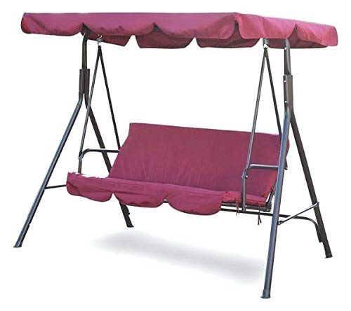 koonlertshop Patio 3 Person Swing Chair Garden Canopy Awning Balcony Bench Water Resistant UV Protection Polyester Burgundy #578 (Houzz Patio Covers)