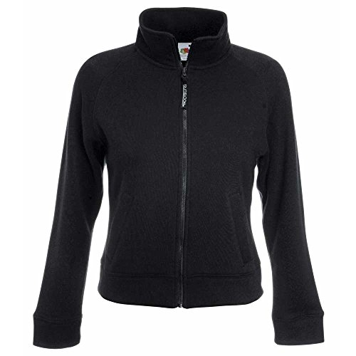 Fruit of the Loom Lady Fit Full Zip Sweat Jacket Black,Navy,Grey,White Black