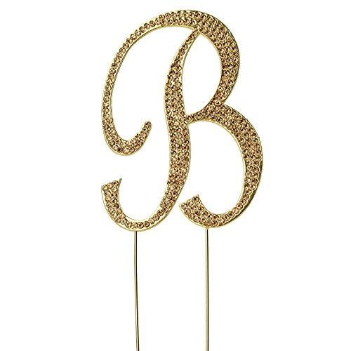 BalsaCircle 4.5-Inch Tall Gold Letter B Crystal Rhinestone Cake Topper - Personalized Monogram Wedding Birthday Party Decorations -