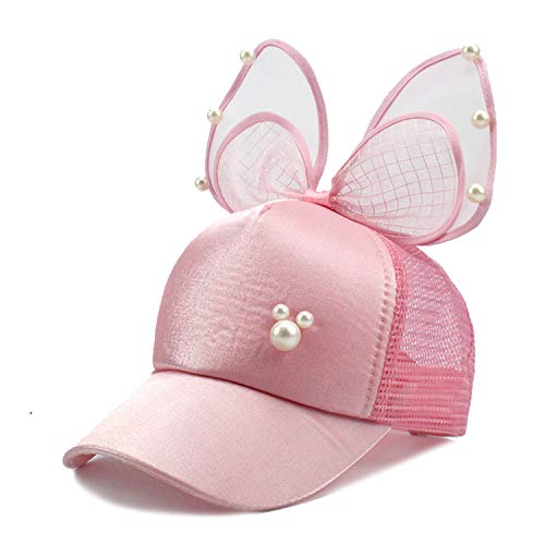 (Big Bow Fashion Summer Kids Lace Floral Ear Baseball Caps with Pearl Children Sun Hats Princess Mesh Cap Pink)