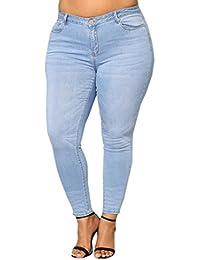 Women High Waist Jeans Plus Size Ripped Stretch Slim...