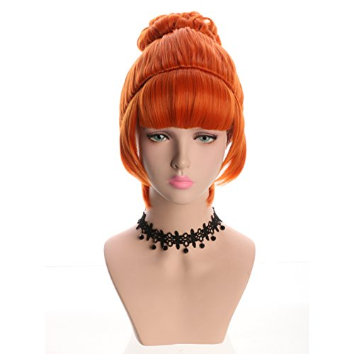 Yuehong Cosplay Wig Orange Bun Curly Synthetic Halloween