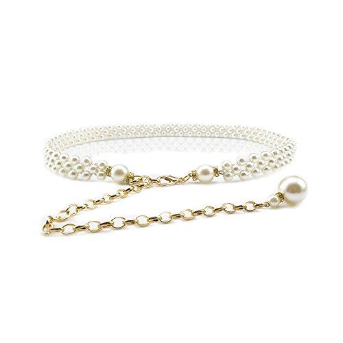 Ya Jin Women's Fashion Pearl Decorative Metal Waist Chain Waist Belt for Dress, White