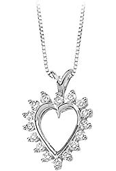 14K Yellow/White Gold 1/2 ct. Diamond Heart Pendant with Chain