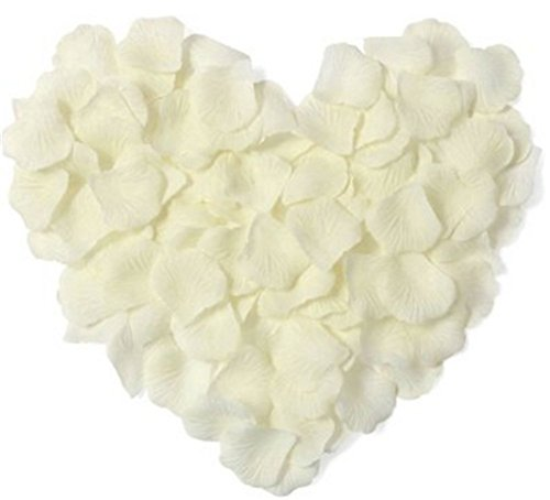 1000Qingsun Rose Petals Artificial Flower Wedding Party Vase Decor Bridal Shower Favor Centerpieces Confetti (Ivory white)