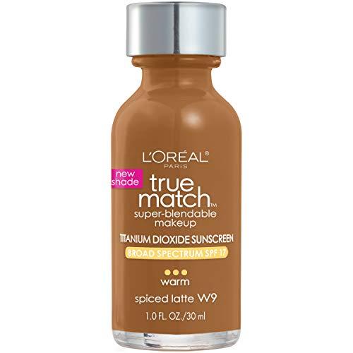 L'Oreal Paris Makeup True Match Super-Blendable Liquid Foundation, Spiced Latte W9, 1 Fl Oz,1 Count