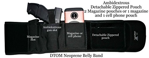 DTOM Ultimate Comfort Neoprene Belly Band Holster for Concealed Carry | Fits Small to Medium Size Guns Such as Glock 19, 17, 42, 43, Ruger LC9, SR9c, XD Compact, | for Men and Women | Right | Black