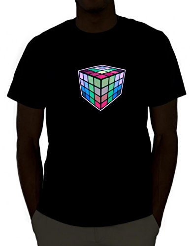 Emazing Lights Rubik's Cube Sound Activated Light Up Rave Tee (Medium) ()