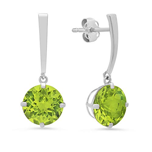 14k White Gold Solitaire Round-Cut Peridot Drop Earrings (8mm)
