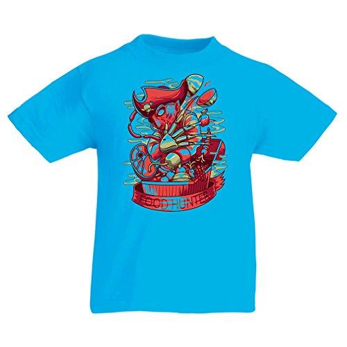 Kids Boys/Girls T-Shirt The Food Hunter, Freddy - Horror Nightmare - Pirate Treasure Chest - Parody Design (12-13 Years Light Blue Multi (Pirate Halloween Party Food Ideas)