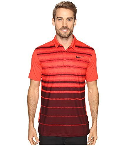 Nike 2016 Mobility Fade Stripe Logo Chest Mens Golf Polo Shirt LT Crimson Large (Mens Polos Stripe Chest)