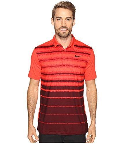 Nike 2016 Mobility Fade Stripe Logo Chest Mens Golf Polo Shirt LT Crimson Large - Logo Golf Shirt