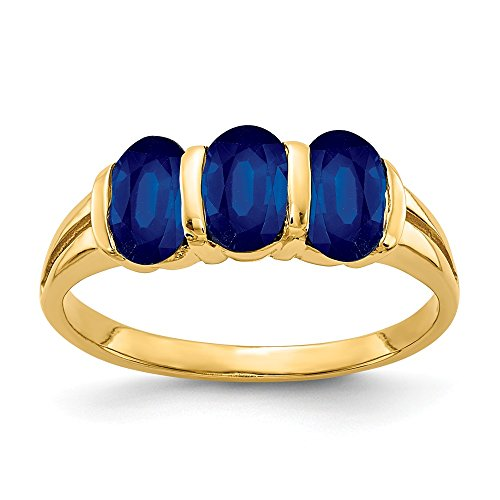 Jewelry Adviser Rings 14k 6x4mm Oval Sapphire ring (14k 6x4mm Oval Sapphire Ring)