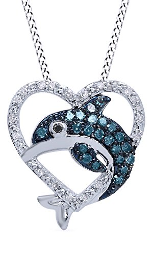 Jewel Zone US Blue, Black & White Diamond Dolphin Heart Pendant Necklace W/Chain in 14k Gold Over Sterling Silver (0.33 Cttw) ()