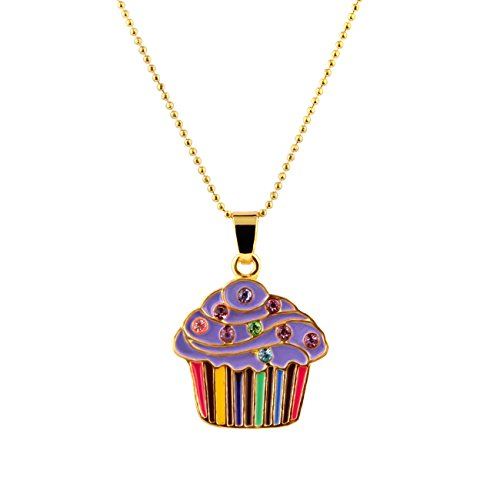 Candygirl Girls Charm Necklace Cupcake Cuties Enamel Pendant Necklace in Gift Box (Cupcake Charm Necklace)