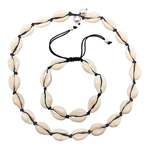 (Natural Shell Choker, Handmade Seeshell Necklace Adjustable Cowries Shell Anklet Bangle, Boho Hawaii Summer Beach Necklaces Bracelet Set Jewelry for Women Girls with Gift Box - Black Rope)