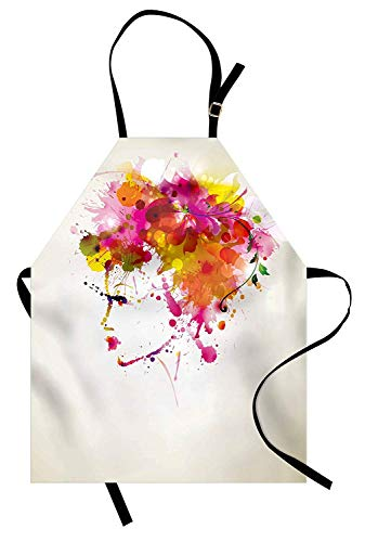 Miss Sweetheart Abstract Apron, Watercolor Portrait of a Woman with Artsy Floral Hairstyle Paint Splatters, Funny Kitchen Aprons Men Women Kids High Waist Apron, Orange Pink Green -