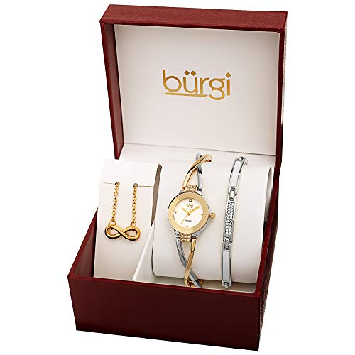 Burgi Women's Jewelry Gift Set – Flash Plated Silver Half Bangle Diamond Watch, Infinity Pendant Necklace and Swarovski Crystal Bracelet - BUR213SS-S