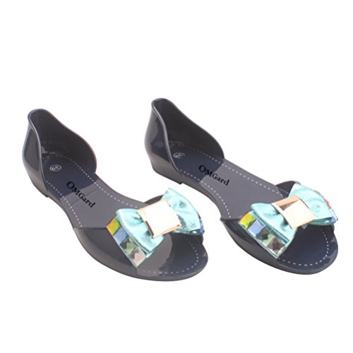 Sandal Colors OMGard Shoes Toe Flat Shoes Ribbon Sandals Bow Jelly Summer Size Woman Blue Women 3 Peep 6w6HSz