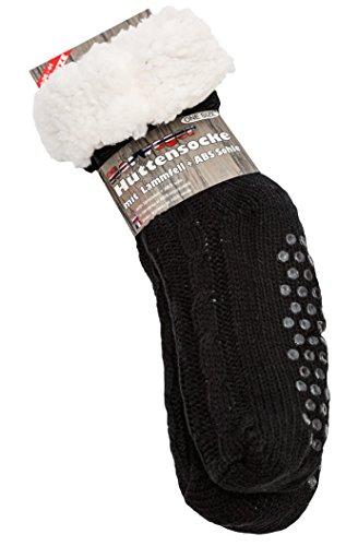 Hüttensocke CABLE von Yenita® mit Teddyfutter mit rutschfester ABS Sohle super Soft