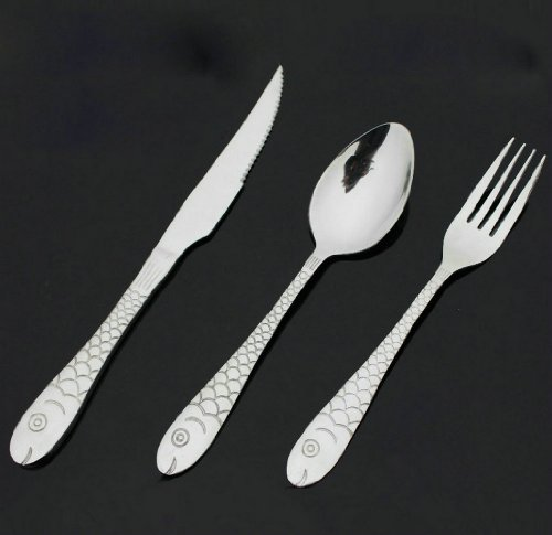 Gracelife Fish Design Stainless Steel Flatware Set Tableware Dinnerware, Set of 3 -