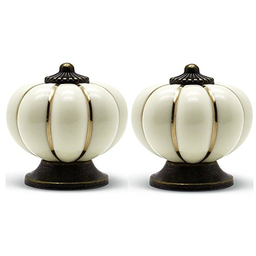 Retro Ceramic - PZRT 5-Pack 40mm Kitchen Cabinet Knobs,Retro Ceramic Cupboard Drawer Pull Handle, Door Wardrobe Furniture Handle Drawer Pull Knob (White)