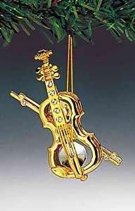 Violin 24k Gold Plated Swarovski Crystal Ornament