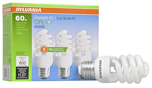 SYLVANIA 26378 CFL Light Bulb, 6500K-Daylight, 3