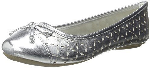 Sperry Bethany Ballet Flat (Toddler/Little Kid/Big Kid), Silver/White, 10 M US Little Kid