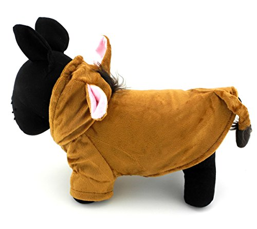 SMALLLEE_LUCKY_STORE Pet Cat Dog Pet Puppy Halloween Horse Costume Hoodie Small Dog Coat Brown L -